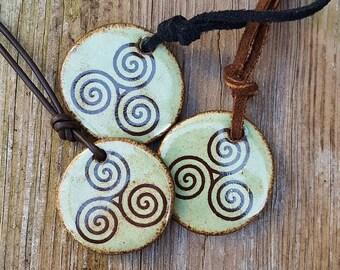 TRISKELE pendant triple SPIRAL Triskelion Ancient Symbol Light Green Brown leather Inspirational Earthy Spiritual stoneware pendant Reiki