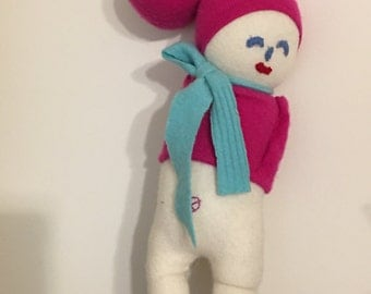 Hot pink Cashmere Plush toy girl in hot pink  doll  , upcycled kids toy children's pillows kids room decor, nursery decor kids pillows baby