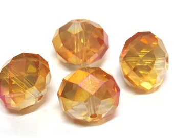 5 beads - Beautiful Large 16 mm size Faceted rondelle shape golden honey color AB shiny crystal glass beads - AB053
