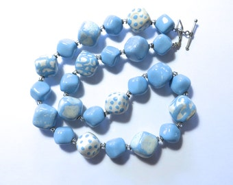 Blue and Cream Beaded Necklace, Statement Necklace, Kazuri Bead Necklace, Fair Trade