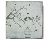 Love Birds Personalized Family Sign - Vintage Style by Barn Owl Primitives