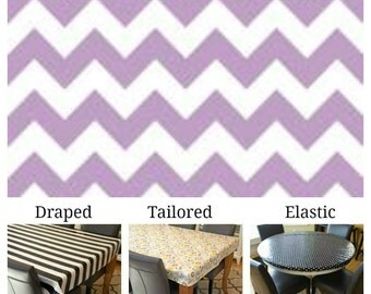 Laminated cotton aka oilcloth tablecloth custom size and fit choose elastic, tailored, or draped, light purple and white chevron