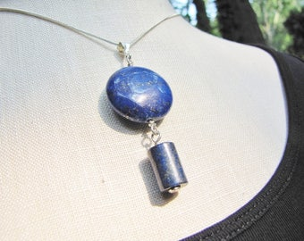 Double Lapis Pendant, Stone, Blue, Denim, necklace, sterling silver