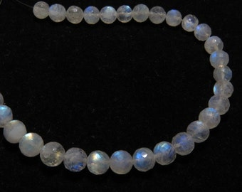 Rainbow Moonstone - AAA - High Quality - So Gorgeous Micro Cut Round Ball Beads Nice Blue Flashy Fire size - 6.5 mm 8 inches  - 33 pcs
