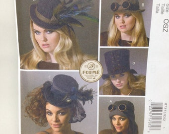 Uncut, Adult Vintage Hats, McCalls Fashion Accessories Sewing Pattern M7335, Forme Millinery Co Classic Design Steampunk Turn of the Century