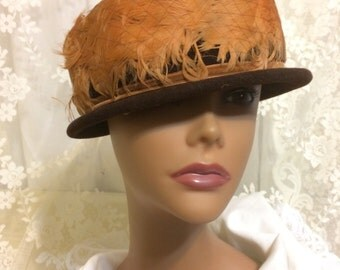 Beautiful Brown Velvet and Feather Hat
