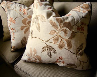 "SCHUMACHER Pillow Cover 20x20"" Floral Embroidered Linen Velvet 2 FOR 1 PRICE"
