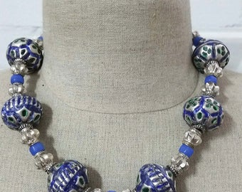 Vintage Multan enamel silver ball beads and silver little melon beads necklace from Pakistan.