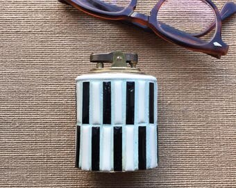 Vintage 1950s MCM Ceramic Table Lighter - Mid Century Modern Italian Porcelain w/ Brass Lighter Fitting Raymor Mint Black White - Don Draper