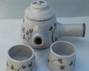 Teapot Set with Two Matching Tea Bowls