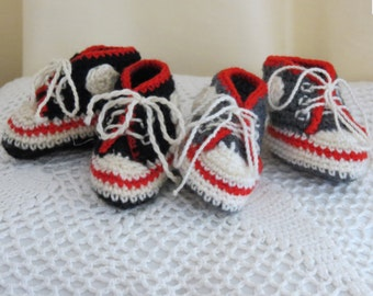 MADE TO ORDER Handmade Crocheted New Born Converse Baby Booties