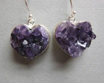 Amethyst Druzy  Earrings, Heart shaped .925 Sterling Silver Drop Earrings 12 grams weight