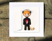 Walter the Red Panda, Listening to David Bowie, Aladdin Sane, 5 Inch Square Card by SBMathieu