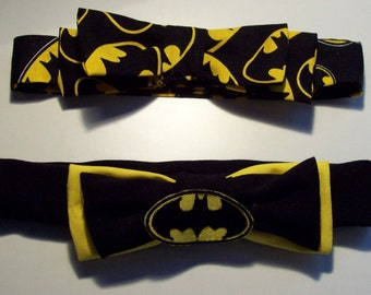 Faux Batman Bowtie, velcro closure, made to YOUR size and your style