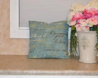 "Shabby, Romantic, Aqua Script Pillow Cover 18"" X 18"", Romantic Aqua Script, Pillow Cover, Shabby Cushion Cover, Coral Ruffles Shabby Pillow"