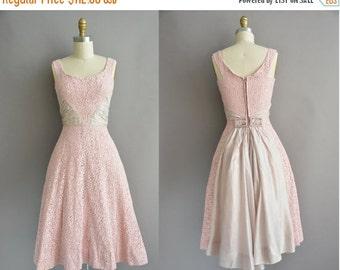 25% off SHOP SALE... 50s pink cotton lace vintage full skirt dress / vintage 1950s dress