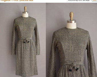 25% off SHOP SALE... 50s Gay Gibson gray and black wool vintage wiggle dress / vintage 1950s dress