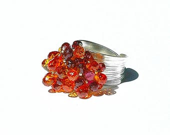 Garnet & Fire Quartz Cluster Ring / Sterling Silver / Adjustable / Gemstone / Wide Band / Wire Wrapped / Gifts For Her / Red / Orange