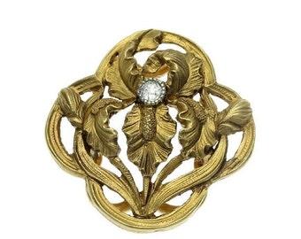 30% Off Winter Sale Antique Gold Floral Clip - French Art Nouveau iris flower yellow gold old European cut diamond France c1900