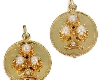 30% Off Winter Sale Antique drop earrings - French antique 18K yellow gold drop earrings shamrock