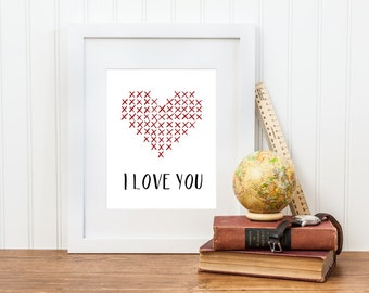 I Love You Cross Stitch Printable - Valentine's Day Decor - I love you Cross Stitch Art Print