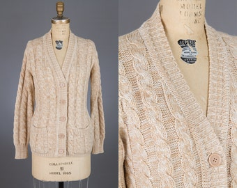 vintage 1970s cardigan sweater | cable knit