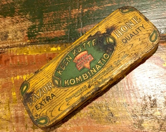 Vintage KEEN KUTTER Kombination Embossed Tin & Razor Hone / Simmons Hardware / Sharpening Stone