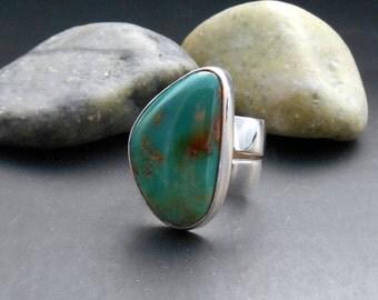 King's Manassa turquoise ring, Colorado turquoise, green turquoise, statement ring. real turquoise, southwest jewelry, unique turquoise