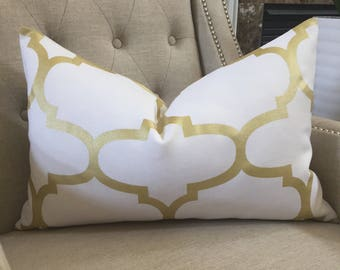 "Decorative Designer Pillow Cover - 16""x24"" - Windsor Smith for Kravet  - Riad Pearl print  in Gold - Pattern on BOTH sides"