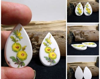Pair Matched China Free Form Hand Cut Cabochons 38 mm