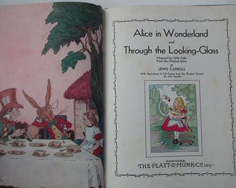 RARE - 1930s antique book-Alice In Wonderland AND Through the Looking Glass