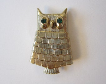 vintage OWL brooch with rhinestone eyes - solid perfume compartment - AVON - green rhinestone eyes, figural brooch pin