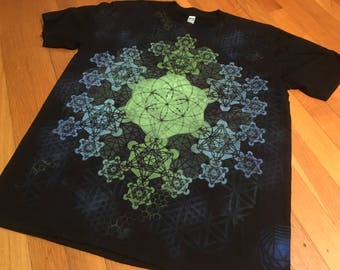 L  Seed of Life Metatron's Cube Mandala Hand Painted Sacred Geometry Chakra Tee w/ Flower of Life, Honeycomb