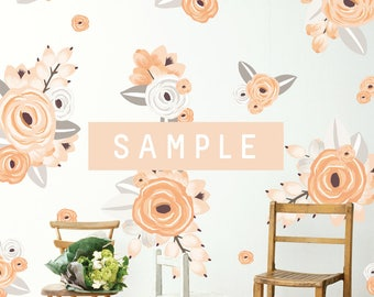 SAMPLE ** Graphic Flower Clusters in Peach