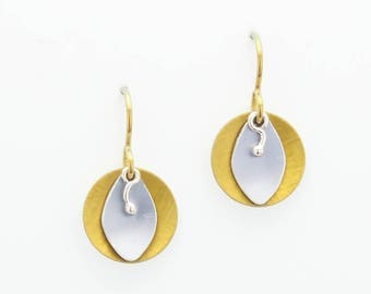Yellow and Grey Circle Earrings – Anodized Aluminum- Sunbeam Shadows Collection