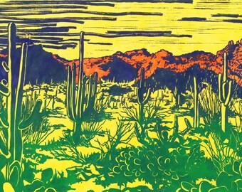 Sonoran Desert on Bright Yellow