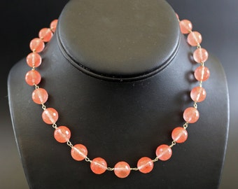 Cherry Quartz and Sterling Silver Wire Wrapped Necklace