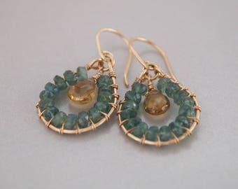 Green Apatite Champagne Quartz Wire-wrapped Gold Filled Earrings, Hoop Earrings