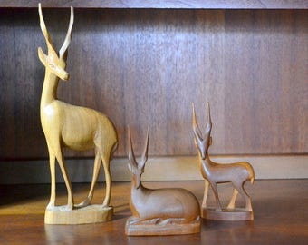 vintage handcarved wooden antelope figurine collection / mid century modern home decor / boho chic decor / rustic home