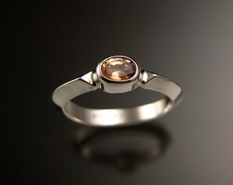 Imperial Topaz ring Sterling silver Triangular band Made to order in your size
