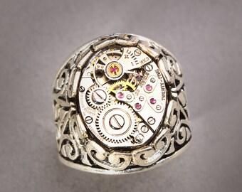 Mens Silver Ring Mens Steampunk Ring Steampunk Ring Men