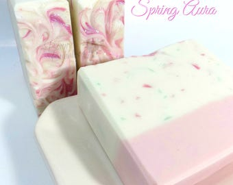 SPRING AURA Soap - enriched with cream, cocoa butter, and aloe vera - cold process - by Bonny Bubbles