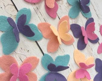 Butterfly Garland - Felt Butterflies - Coral Butterflies -Peach Butterflies - Butterfly Party