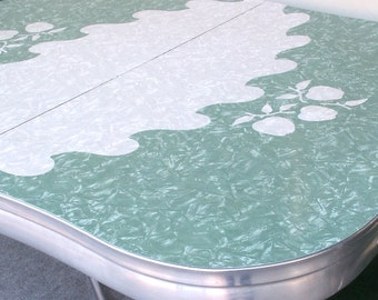 Vintage Green and Gray Formica Table with Leaf Local PICK UP ONLY