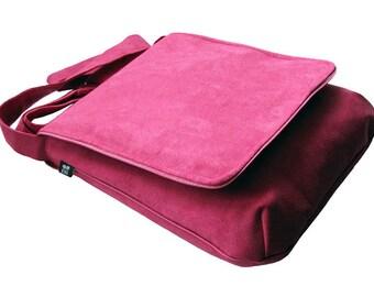 Neon Pink Bag with Flap, Pink Power, Spring Bag, OOAK Messenger Bag, Eco Suede Vegan Bag, Crossbody Bag, Flap Cover Bag, Adjustable Strap