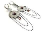RESERVED Oriental earring, long silver earring, etched silver ,metalwork jewelry, garnet jewelry
