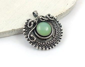 Wire wrapped pendant, silver jewelry, round gemstone jewelry, everyday jewelry