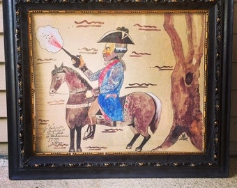 "Antonio Romano George Washington / Mixed Media Painting on Board  / Shooting at the English / Antonio Romano / Famed 28.5"" X 24.5"""