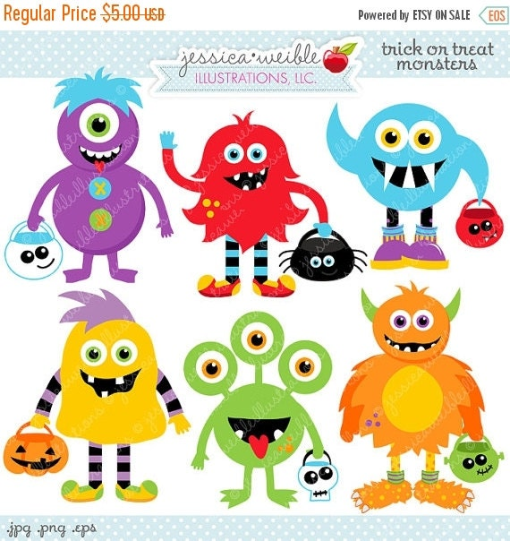 ON SALE Trick or Treat Monsters Cute Digital Clipart - Commercial Use OK - Halloween Monsters - Halloween Graphics