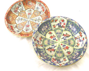 Set of Two Dahler Decorated Wear Small Bowls or Dishes with Orange Blue Flowered Patterns (L3)